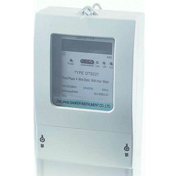 Three-phase electronic watt-hour meter with LCD display